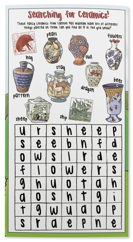 Educational illustated ceramics word search activity for children by Emma Metcalfe
