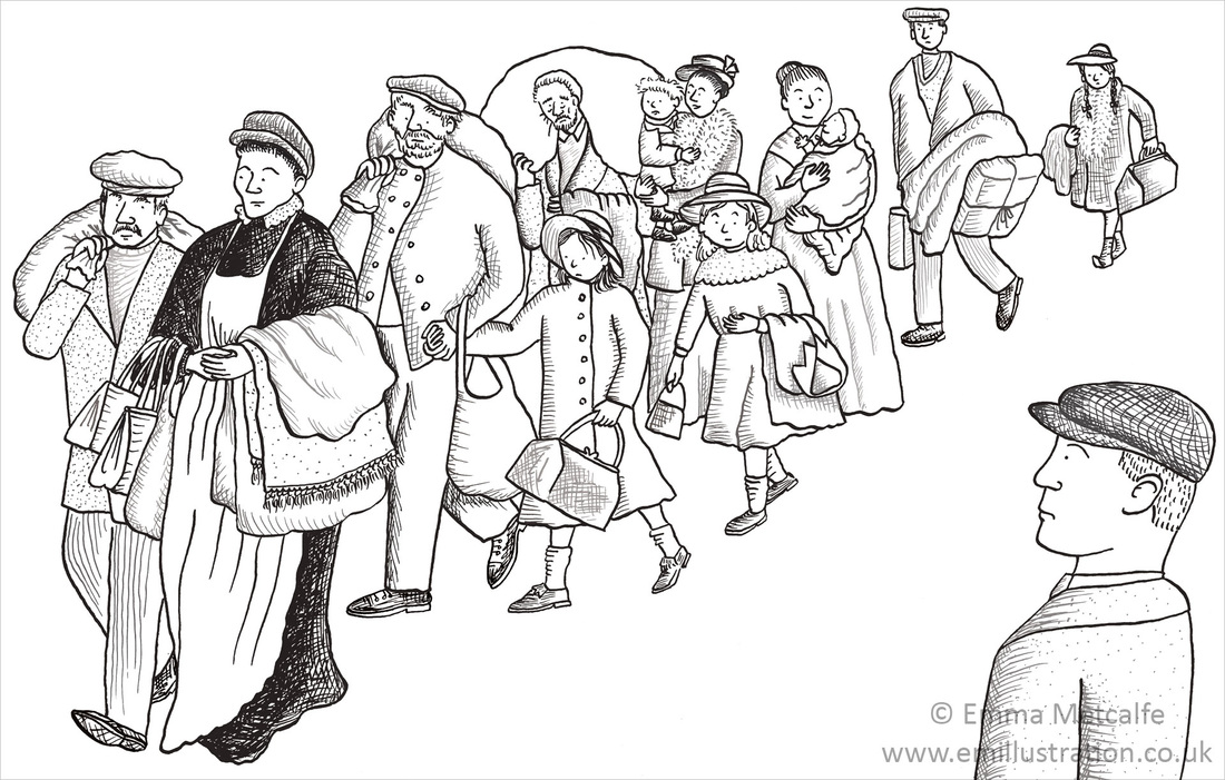 Educational illustration of Belgian refugees arriving in Britain during World War One