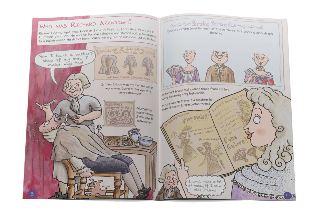 Who was Richard Arkwright? Illustration showing Arkwright as a barber from Cromford Mills illustrated children's guidebook