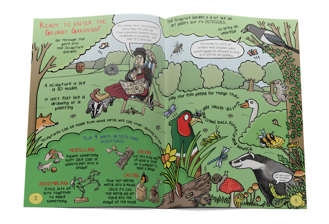 Humorous nature illustrations from Gruesomely Grubby Gardens illustrated children's guidebook by Emma Metcalfe
