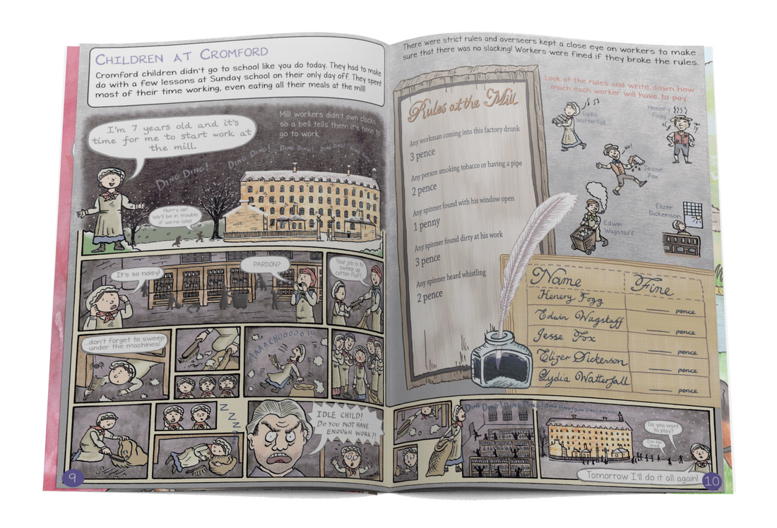 Page spread from Cromford Mills illustrated educational children's guidebook by Emma Metcalfe