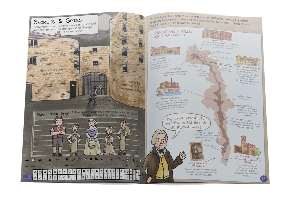 Illustrated page from Cromford mills children's guidebook with code activity and derwent valley mills map