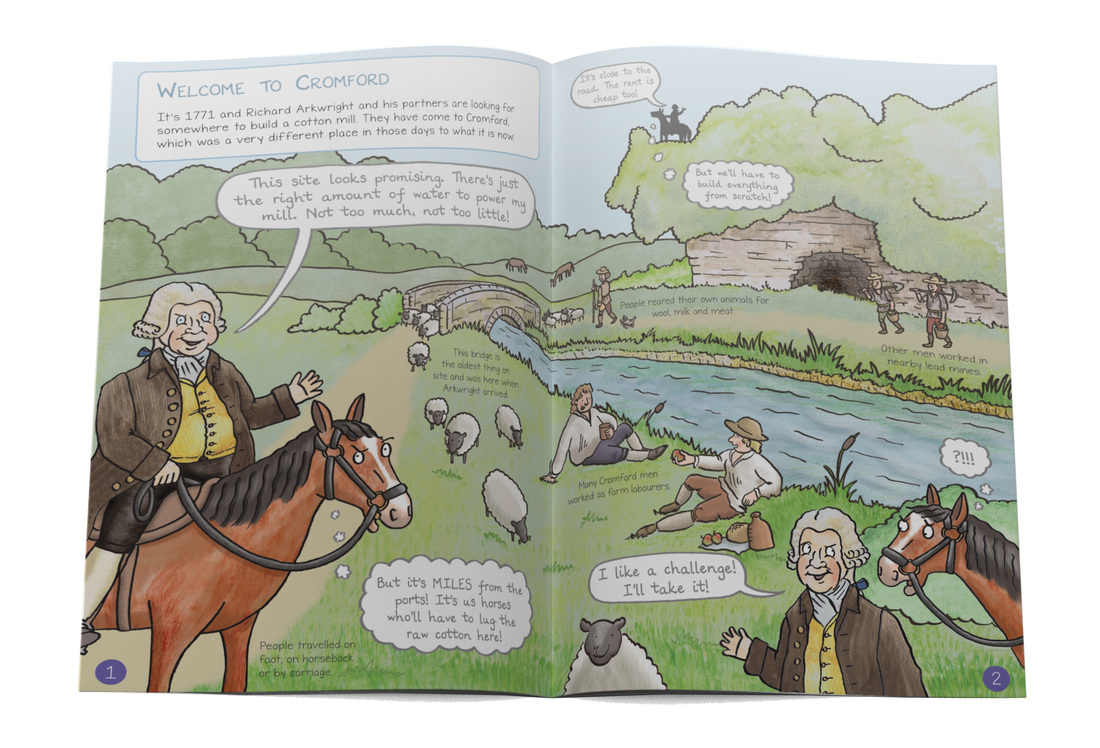 Welcome to Cromford illustration of Richard Arkwright arriving in Cromford on horseback