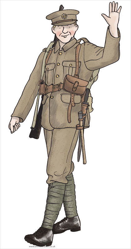 Educational illustration of First World War British soldier walking and waving
