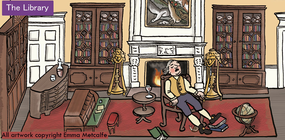 Educational cartoon illustration of 18th century man asleep in Library