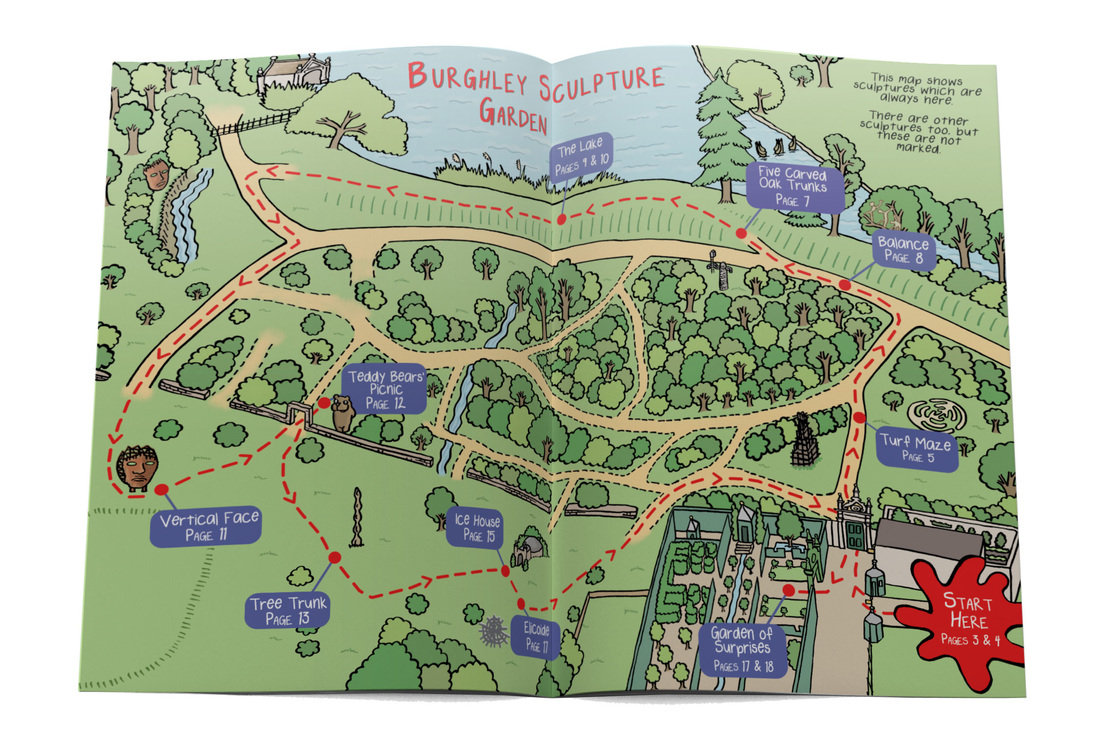 Colourful illustrated map of Burghley sculpture garden by Emma Metcalfe