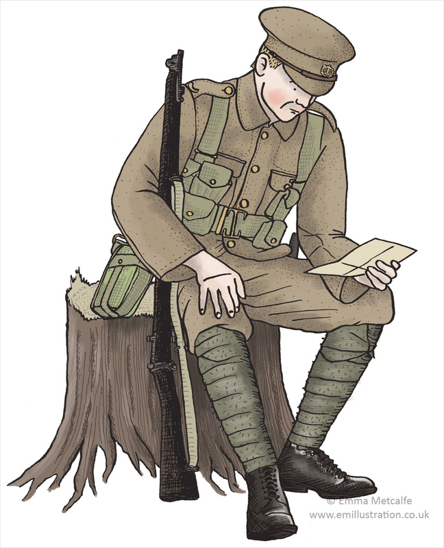Educational illustration of a World War One British soldier reading a letter on a tree stump