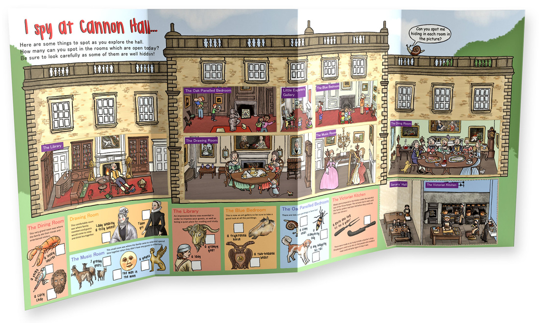 Children's illustrated trail with historic house cutaway look inside illustration showing people and rooms