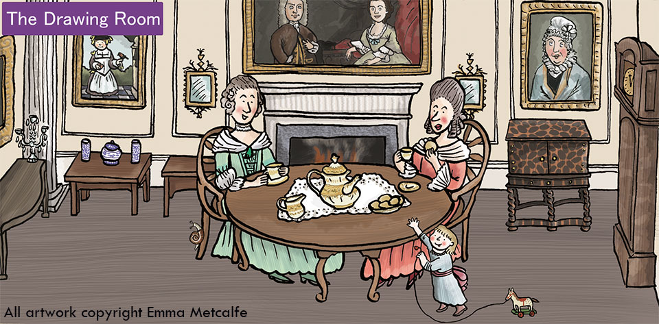 Educational cartoon illustration of 18th century ladies drinking tea in Drawing Room