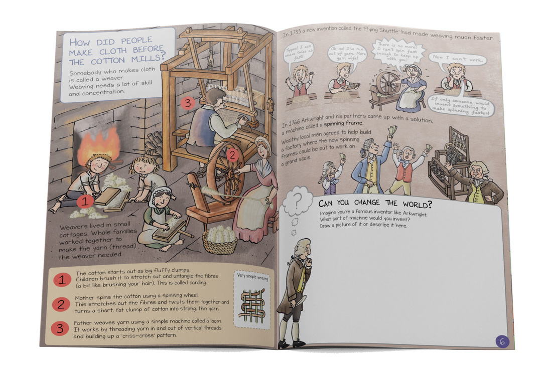 Illustration of family weaving and carding at home, pages from Cromford Mills illustrated children's guidebook