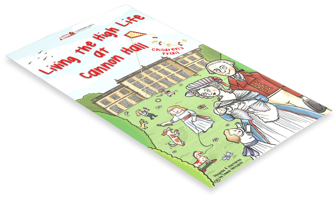 Cannon Hall children's illustrated trail leaflet front cover by Emma Metcalfe