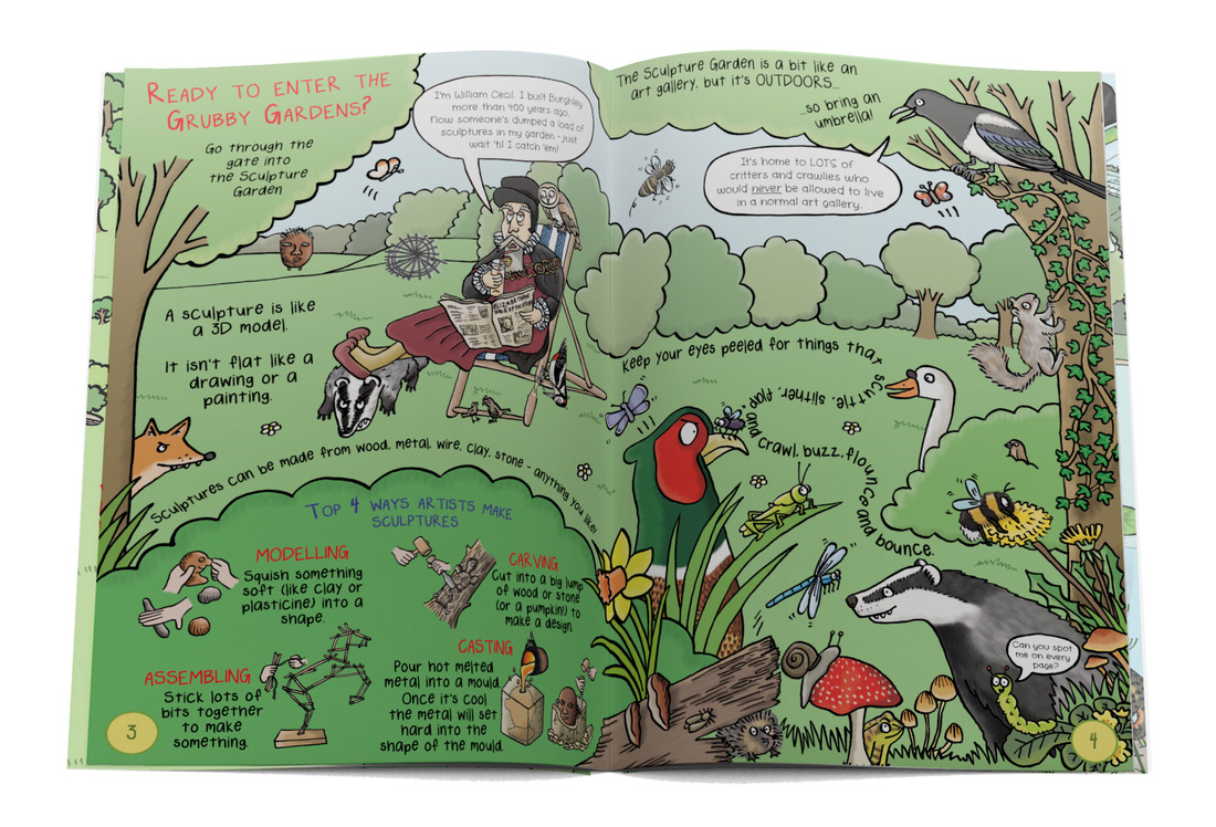 Illustrated double page spread from Gruesomely Grubby Gardens children's illustrated guidebook for Burghley Sculpture Garden