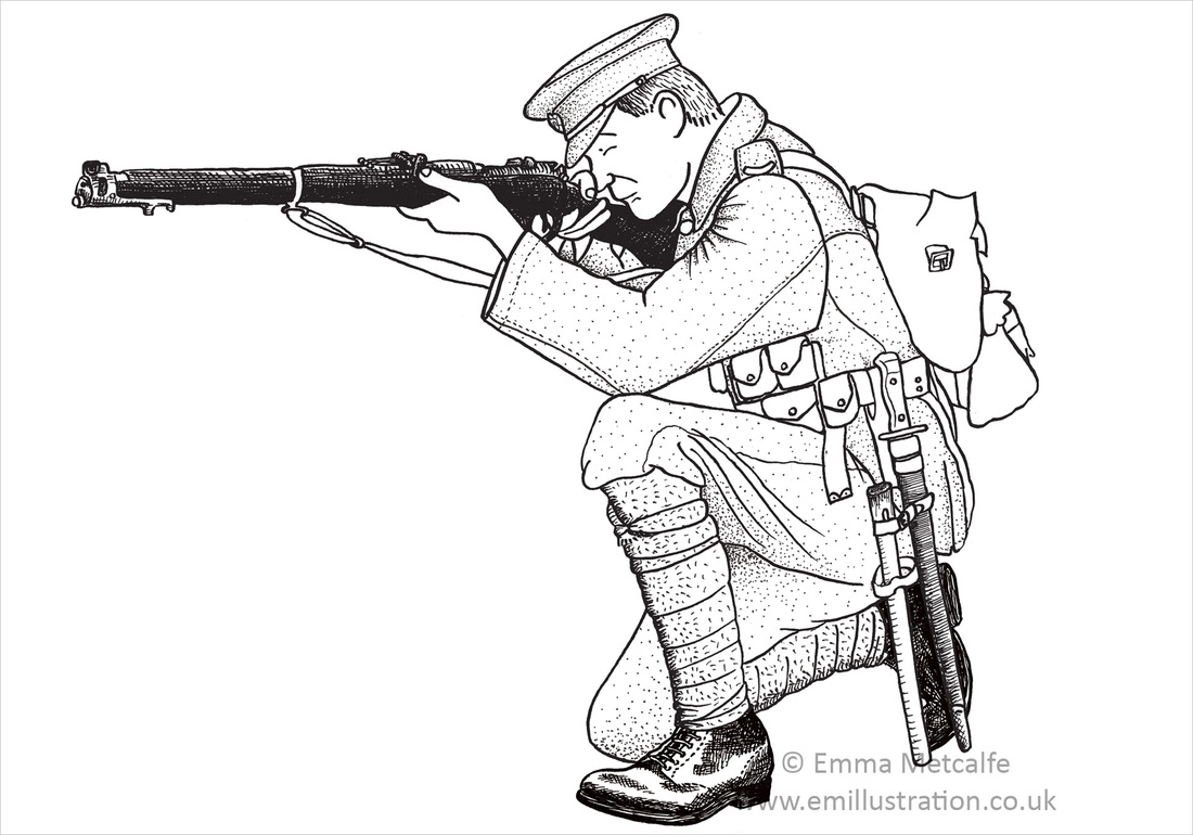 Black & white educational illlustration of First World War British soldier aiming rifle