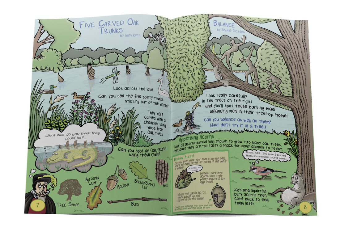 Humorous natural history illustrations from Gruesomely Grubby Gardens illustrated children's guidebook by Emma Metcalfe