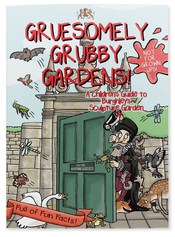 Front cover of Gruesomely Grubby Gardens illustrated children's guidebook for Burghely sculpture garden