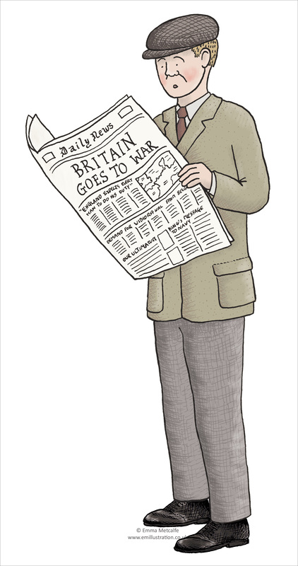 Educational illustration of man reading about outbreak of First World War in newspaper