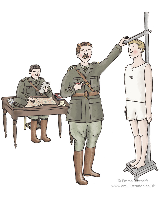 Educational illustration of a World War One soldier being measured upon enlisting in the British Army