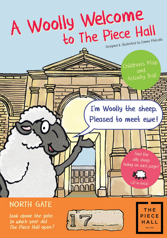 Front cover illustration from A Woolly Welcome to the Piece Hall family trail leaflet by Emma Metcalfe
