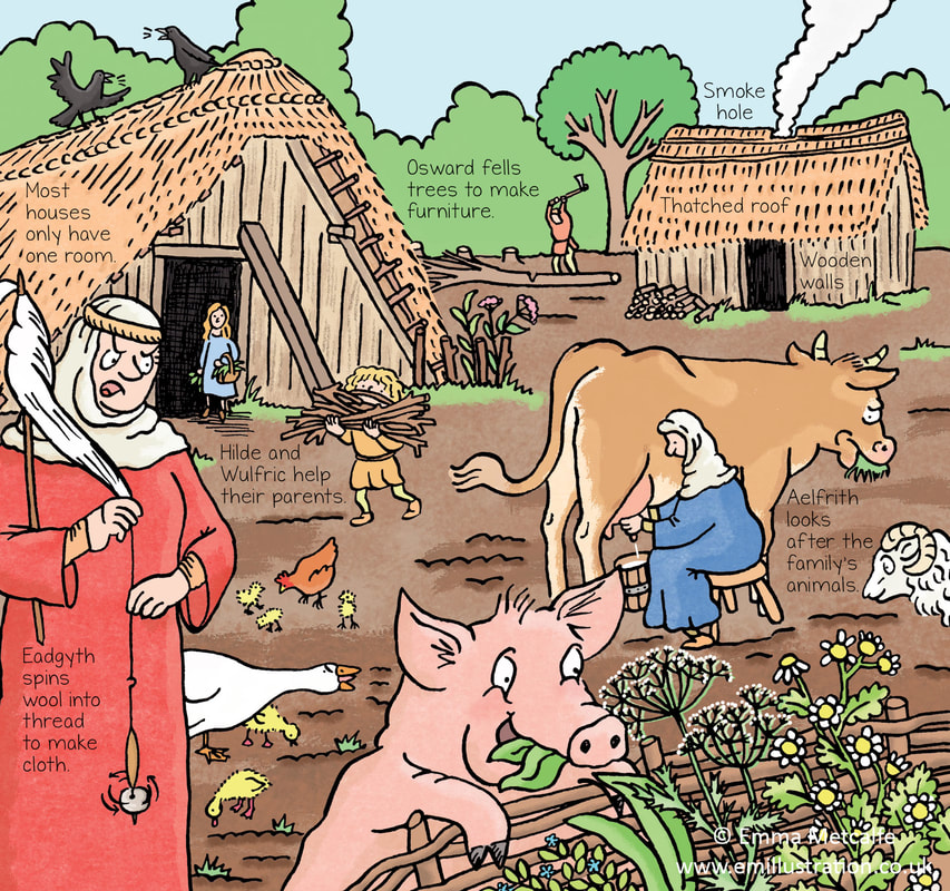 Humorous children's illustration of an Anglo-Saxon village by children's historical illustrator Emma Metcalfe