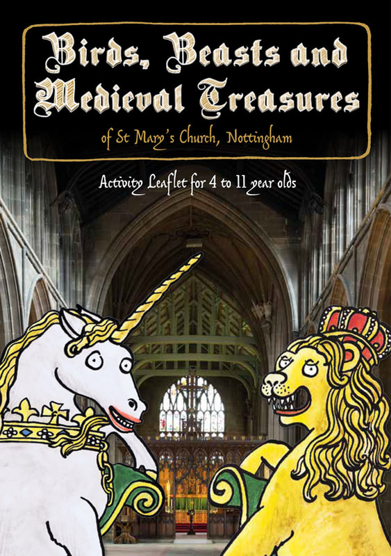 Front cover illustration from Birds, Beasts & Medieval Treasures children's church trail by Emma Metcalfe