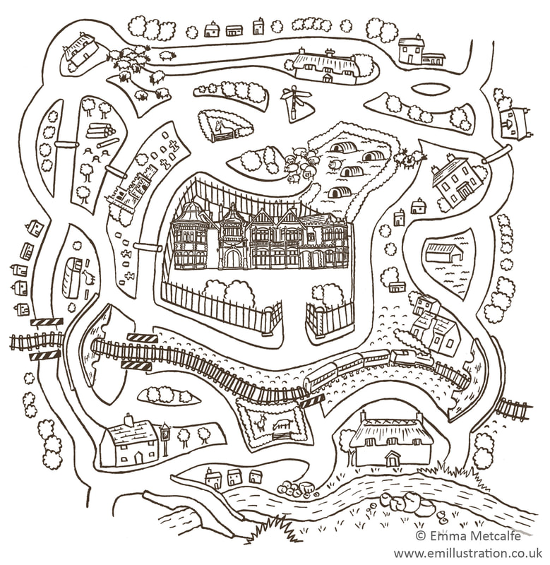 Children's illustrated maze activity puzzle with black outline and simple drawing by illustrator Emma Metcalfe