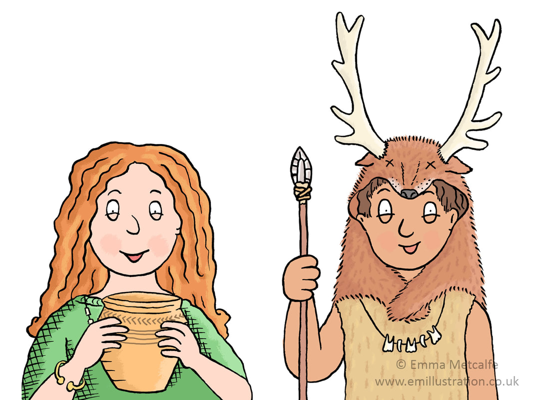 Bronze Age & Stone Age children cartoon illustrations by illustrator Emma Metcalfe