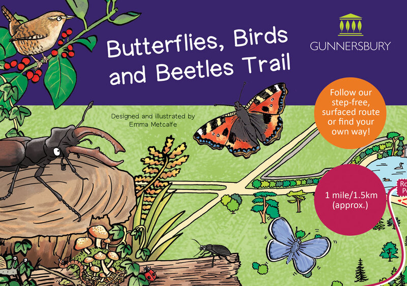 Front cover illustration of Butterflies Birds & Beetles children's nature trail leaflet by Emma Metcalfe