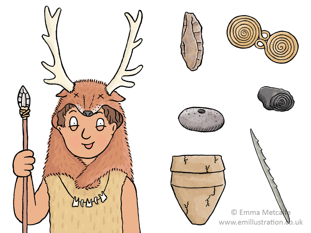 Stone Age child and Mesolithic and Bronze Age artefact illustrations for an educational workshop by illustrator Emma Metcalfe