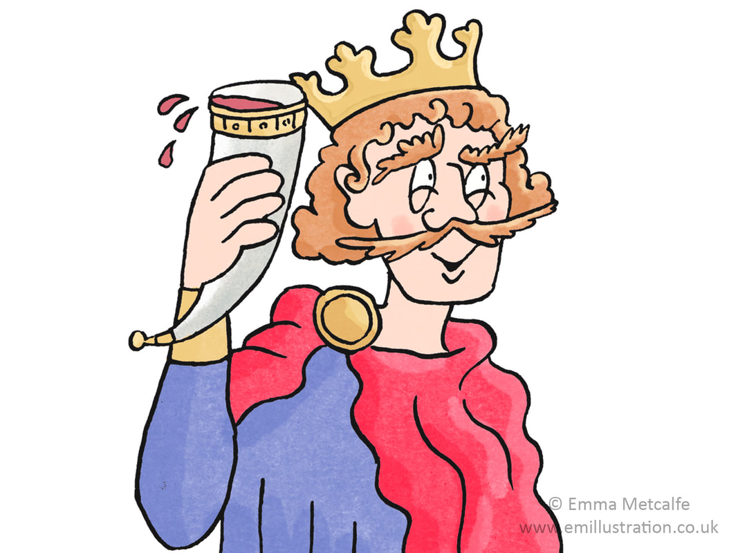 Humorous historical illustration of Saxon king with drinking horn by illustrator Emma Metcalfe