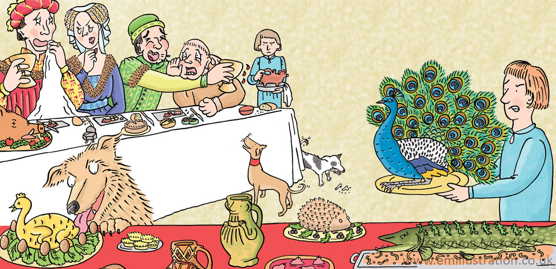 Illustration of medieval feast scene, table manners, boar's head, peacock, servant etc by historical illustrator Emma Metcalfe
