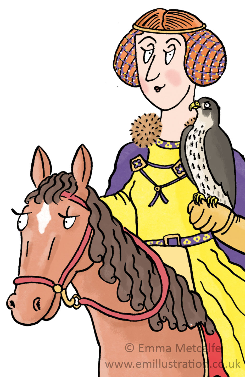 Wealthy medieval lady with crespinette hairstyle, historical cartoon illustration by Emma Metcalfe