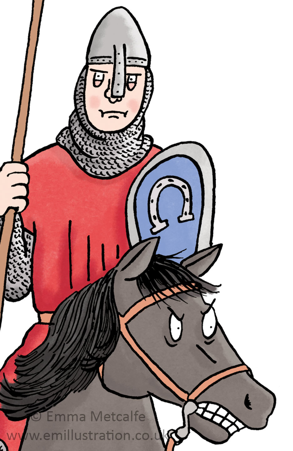 Children's historical illustration of Norman knight by illustrator Emma Metcalfe
