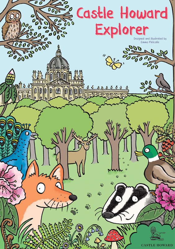 Front cover illustration from Castle Howard Explorer by illustrator Emma Metcalfe