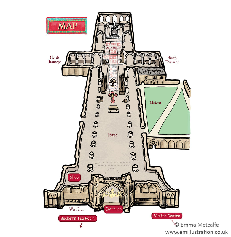 Cathedral interior site map plan cutaway for wayfinding visitor map hand drawn by map illustrator Emma Metcalfe