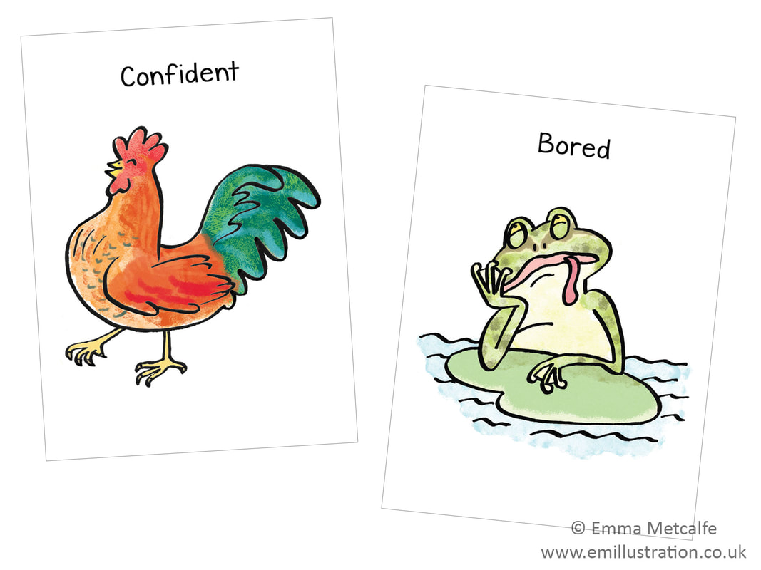 confident chicken/bored frog - emotion of confidence/boredom - children's therapy card resource for trauma, behaviour, talking about emotions