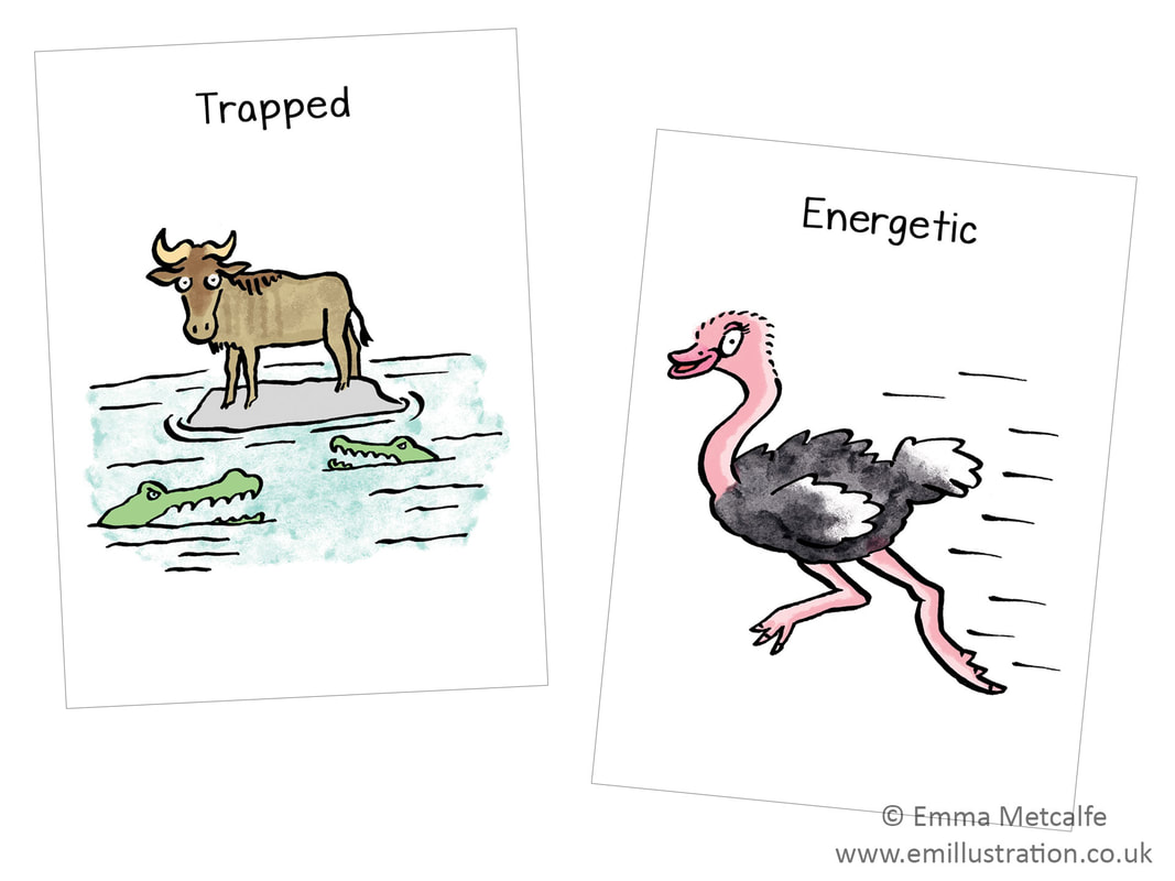 trapped wildebeest/energetic ostrich - emotion of being trapped/energetic - children's therapy card resource for trauma, behaviour, talking about emotions