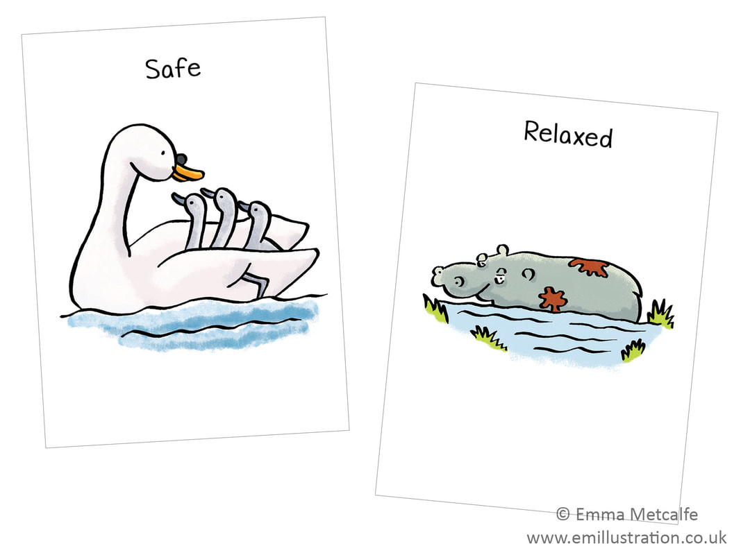 feeling safe swan and signets/relaxed hippo - emotion of safety - children's therapy card resource for trauma, behaviour, talking about emotions