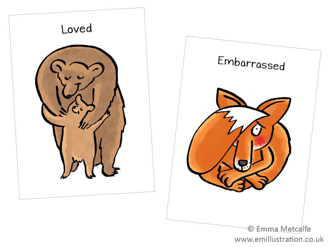 bear hug/fox shy - emotion of feeling loved, cherished, needed/embarassed/ashamed- children's therapy card resource for trauma, behaviour, talking about emotions