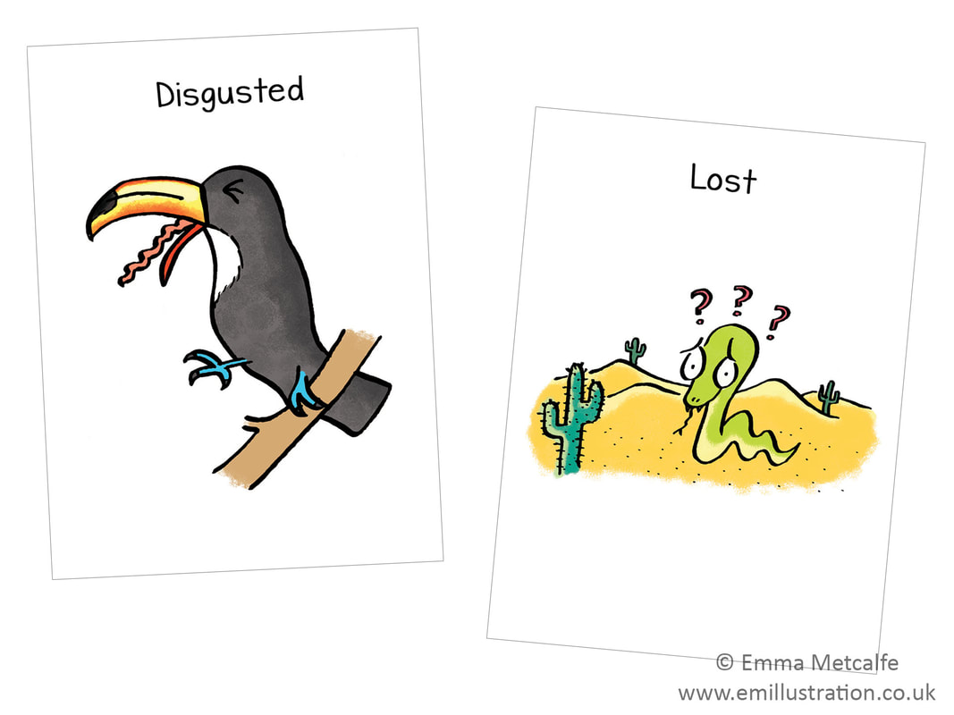 snake/toucan - emotion- feeling lost/disgusted - children's therapy card resource for trauma, behaviour, talking about emotions