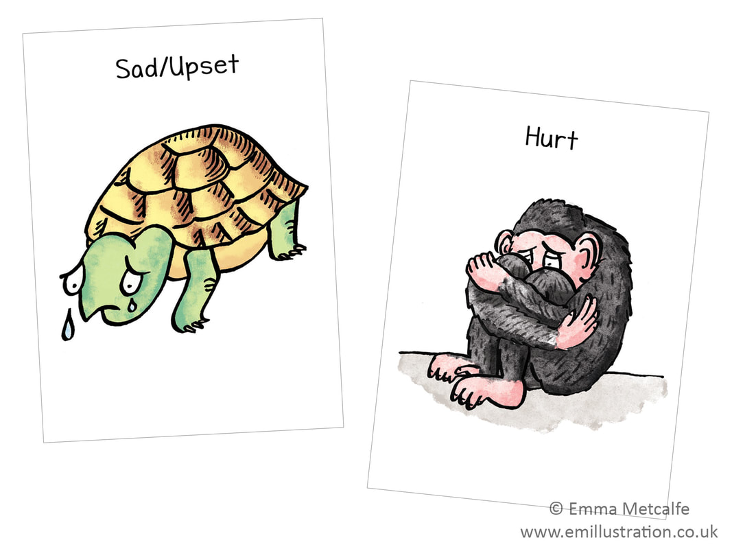 sad crying tortoise and cowering chimp- emotion of feeling sad/upset/feeling hurt children's therapy card resource for trauma, behaviour, talking about emotions