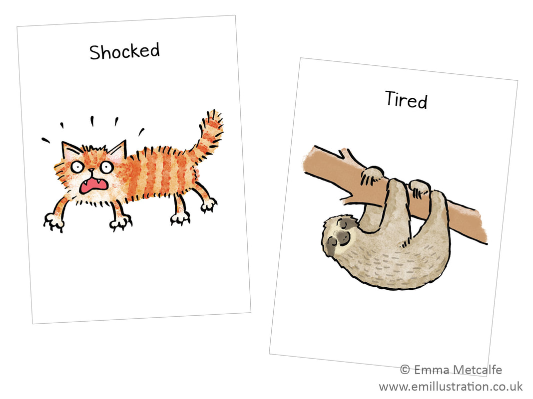 cat/sloth - emotion of feeling shocked/tired - children's therapy card resource for trauma, behaviour, talking about emotions