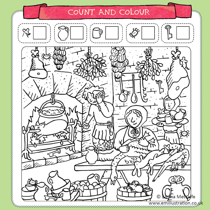Colouring sheet illustration of medieval food preparation and cooking in kitchen by Emma Metcalfe