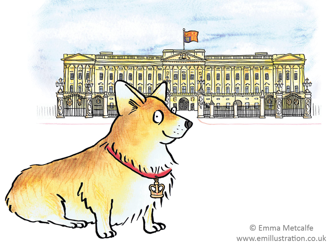 Children's illustration of corgi and Buckingham Palance by illustrator Emma Metcalfe