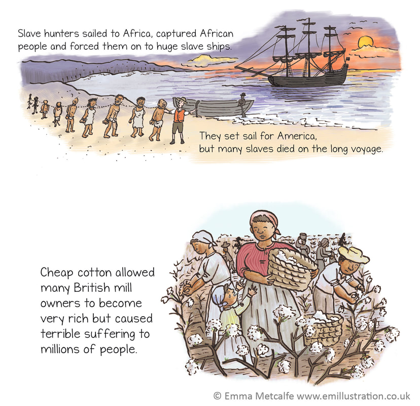 Educational children's illustration showing slaves being loaded onto a slave ship, and slaves picking cotton, by illustrator Emma Metcalfe