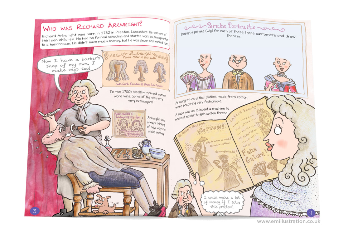 Page spread from Cromford Mills illustrated children's guidebook by Emma Metcalfe