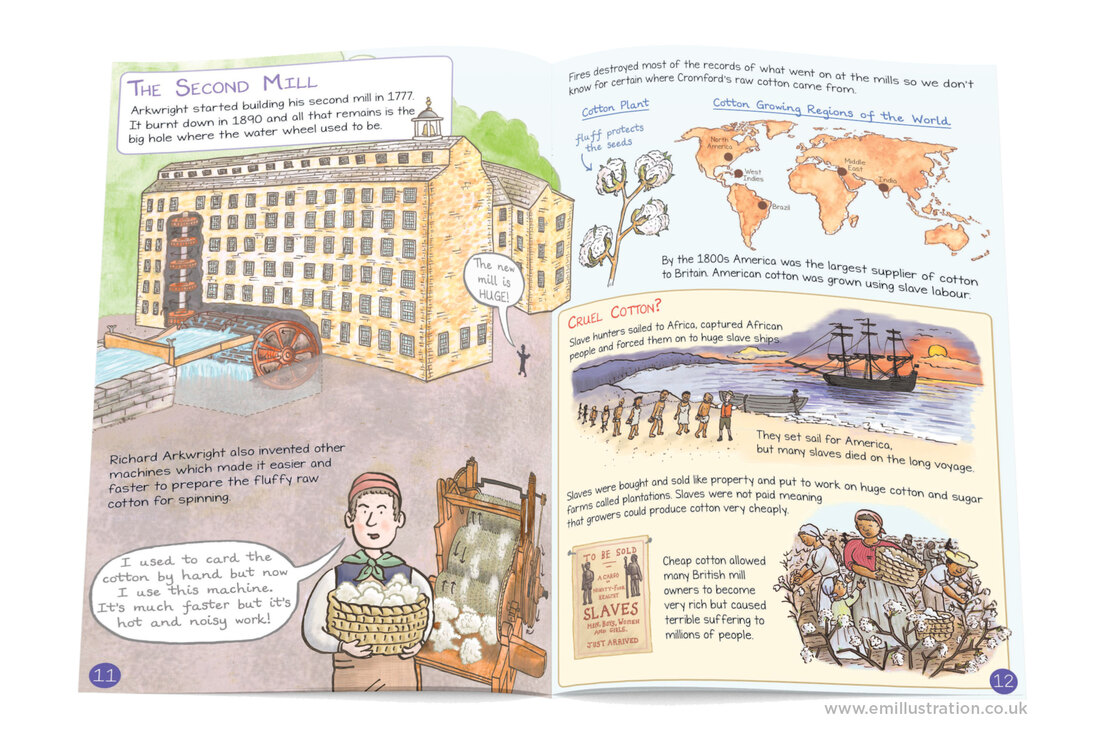 Illustrated page from Cromford mills children's guidebook showing water mill cutaway, slaves picking cotton, slave ships, cotton growing regions map