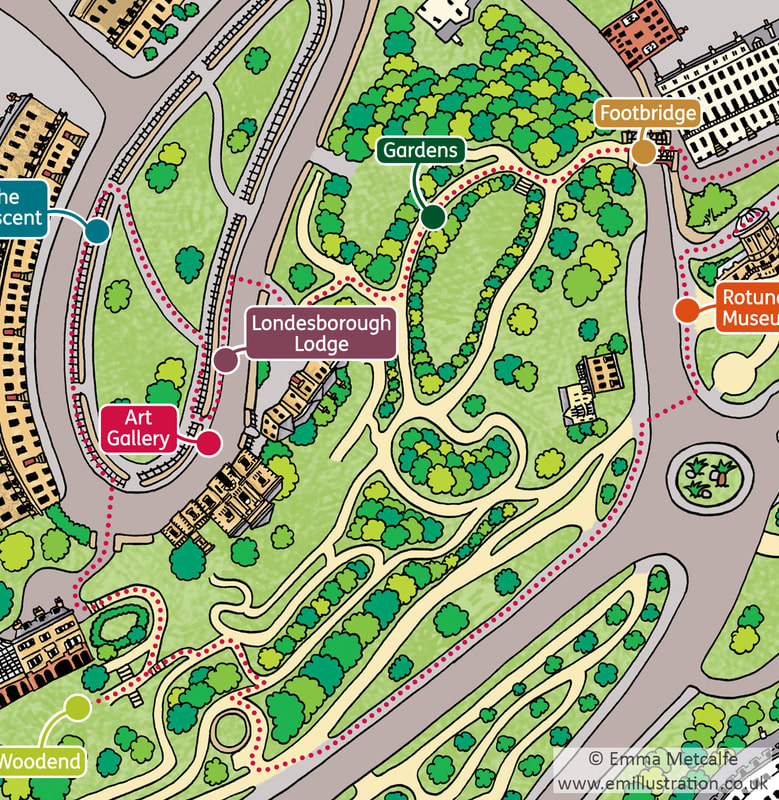 Colourful cartoon illustrated map showing museum gallery and gardens by Emma Metcalfe