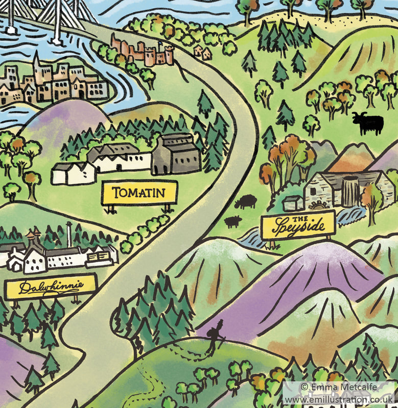 Idealised travel tourism map showing holiday visit destinations in Scotland illustrated by Emma Metcalfe