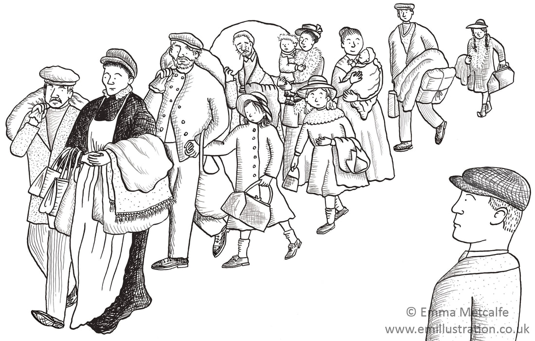 Black and white line drawing of First World War Belgian refugees by illustrator Emma Metcalfe