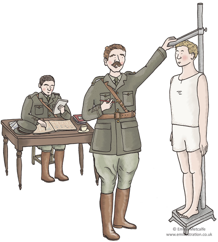 Illustration of new recruit to British Army during World War One by illustrator Emma Metcalfe
